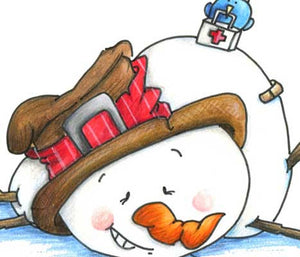 Snowman with a boo-boo and birding dressed like a nurse illustration