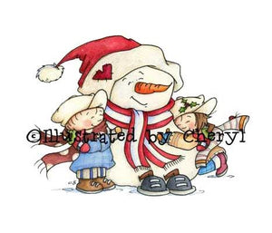 Sweet little snowman hugging adorable little boy and girl illustration
