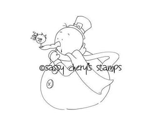 Chubby snowman and little bird gossiping digital stamp