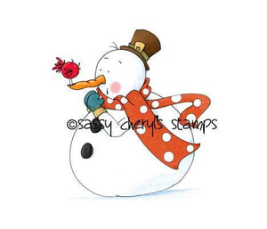 Chubby snowman and little bird gossiping illustration