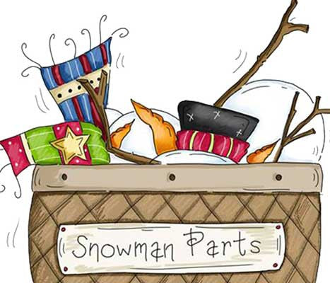 Everything to build a snowman in a basket illustration