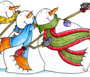 Three whimsical snowmen wearing scarves taking a selfie illustration