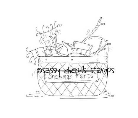 Everything to build a snowman in a basket digital stamp