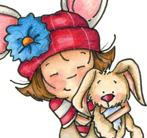 Little girl with flowered hat holding and snuggling with a bunny illustration