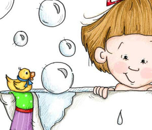 Sweet little girl in claw foot tub taking a bubble bath with her rubber duck illustration