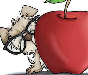 Puppy dog in reading glasses on peeking out from behind a big apple for the teacher illustration by Sassy Cheryl.