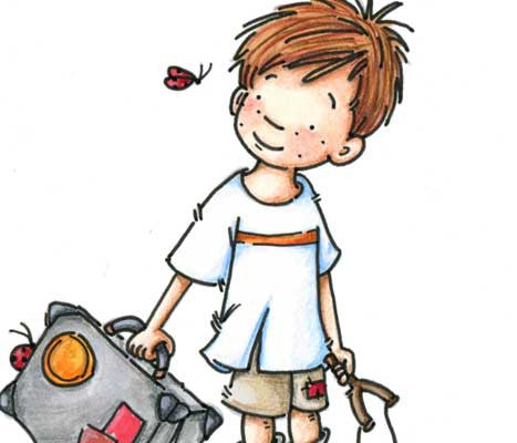 Freckled face little boy carrying a suitcase being followed by a ladybug illustration