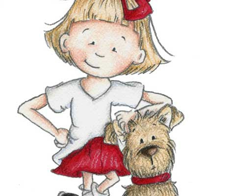 Little girl and her sweet dog posing for the camera illustration