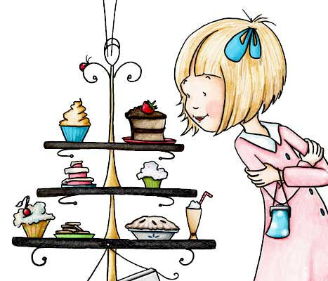 Sweet blonde haired girl in pink dress with yummy desserts illustration by Sassy Cheryl.