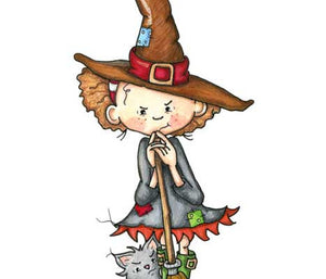 Mischievous little girl dressed up like a witch and her sneaky cat at Halloween illustration