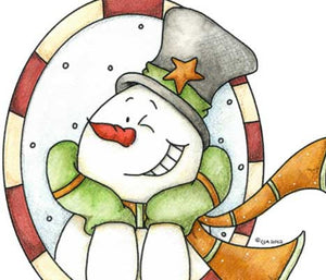 Flirty little snowman winking illustration