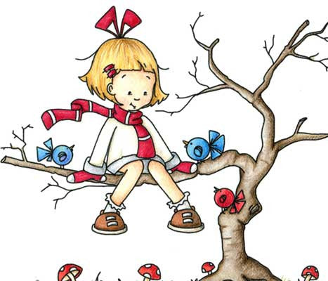 Little girl sitting out on tree limb chatting with whimsical little birds illustration