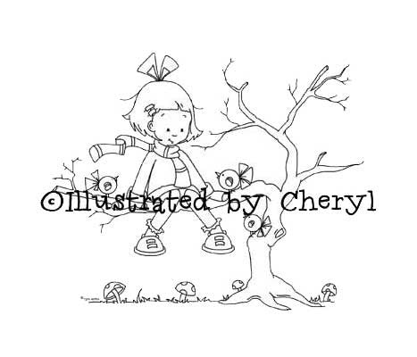 Little girl sitting out on tree limb chatting with whimsical little birds digital stamp