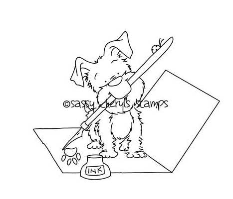 Puppy dog writing love letter with ink well and pen in mouth illustration by Sassy Cheryl.