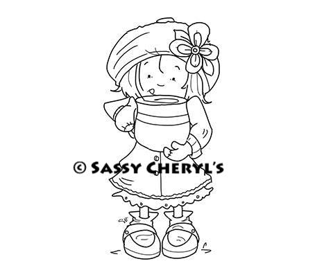 Sweet little girl having a hot cup of cocoa illustration