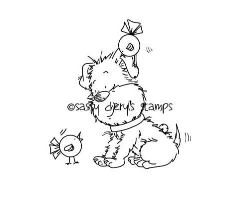Puppy talking to little birds with one on his head digital stamp