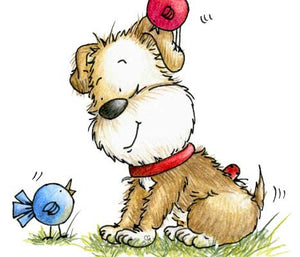 Puppy talking to little birds with one on his head illustration by Sassy Cheryl.