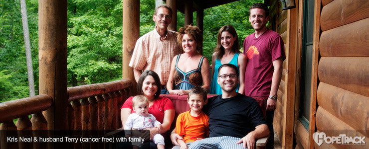 Kristyne & husband Terry (cancer free) with family