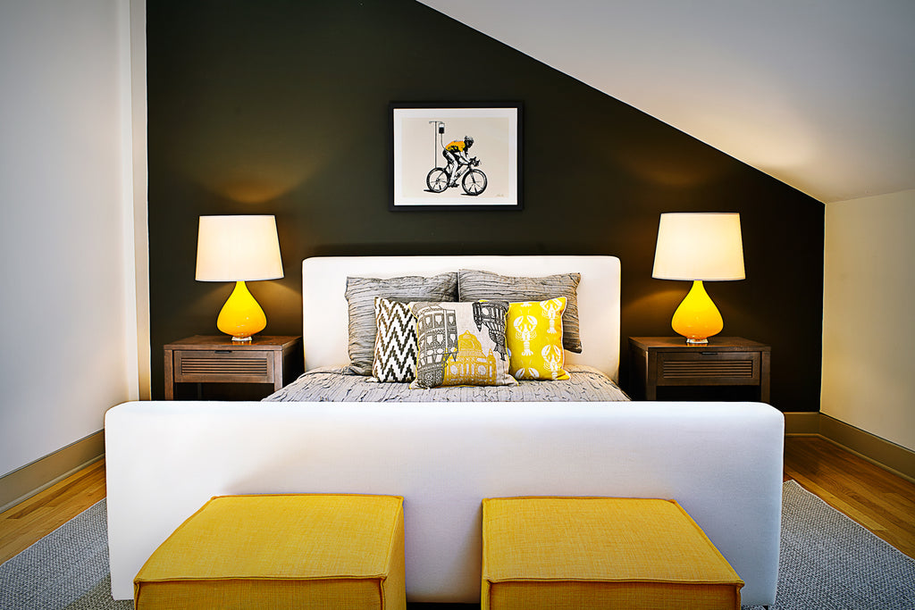 Global Home | Interior Design | Catskills Residence Yellow Guestroom