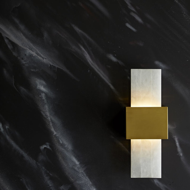 Snow Marble and Brass Sconce - Lighting - Global Home