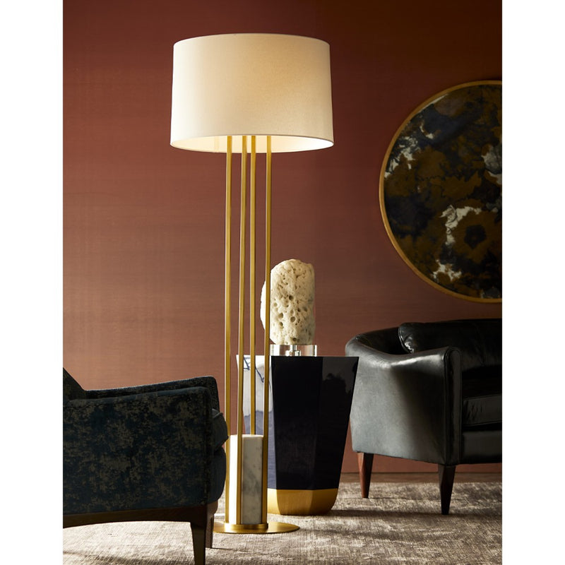 Antique Brass Pillar Floor Lamp - Lamp - Global Home