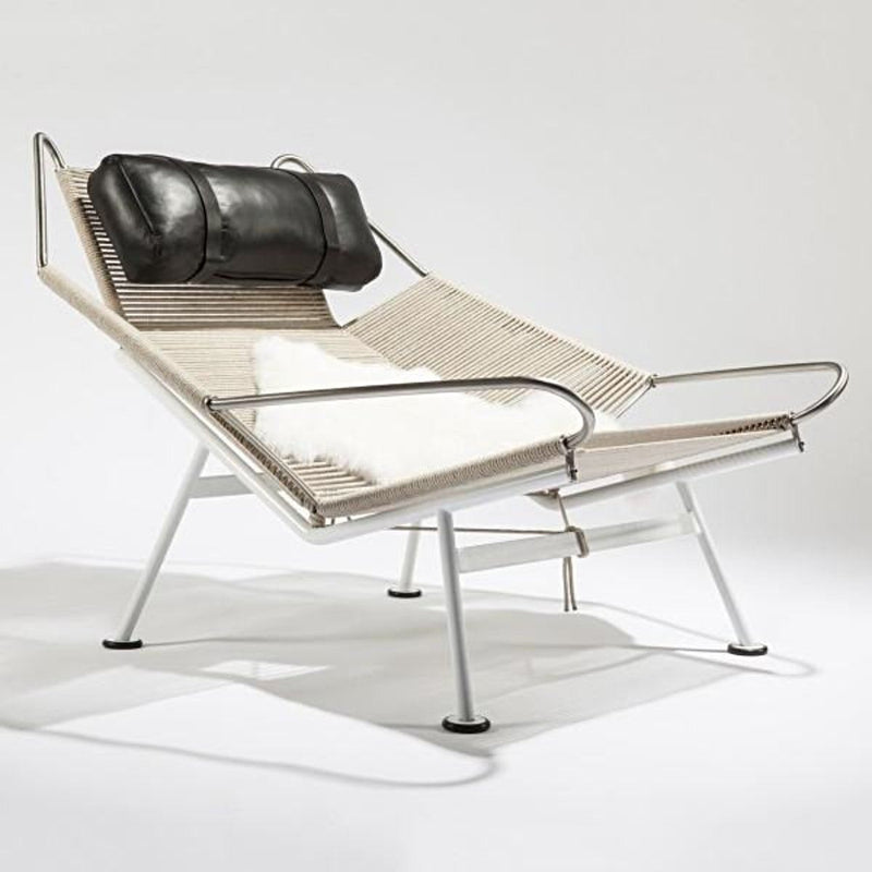 Black Leather, Rope and Sheepskin Lounge Chair - Seating - Global Home