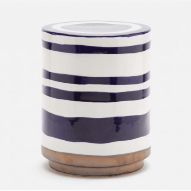Blue and White Striped Column Stool - Seating - Global Home