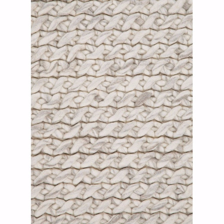 Cable Light Grey Wool Rug - Rugs - Global Home