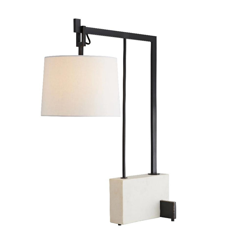 Faux Marble and Steel Table Lamp - Lamp - Global Home