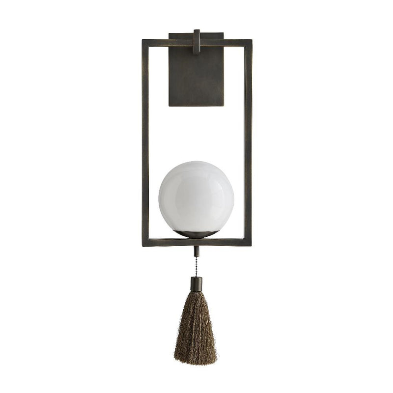Steel Sconce with Glass Ball and Tassel - 2 Finishes - Lighting - Global Home