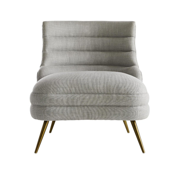 Channel Tufted Chair in Cement Gray Linen - Seating - Global Home