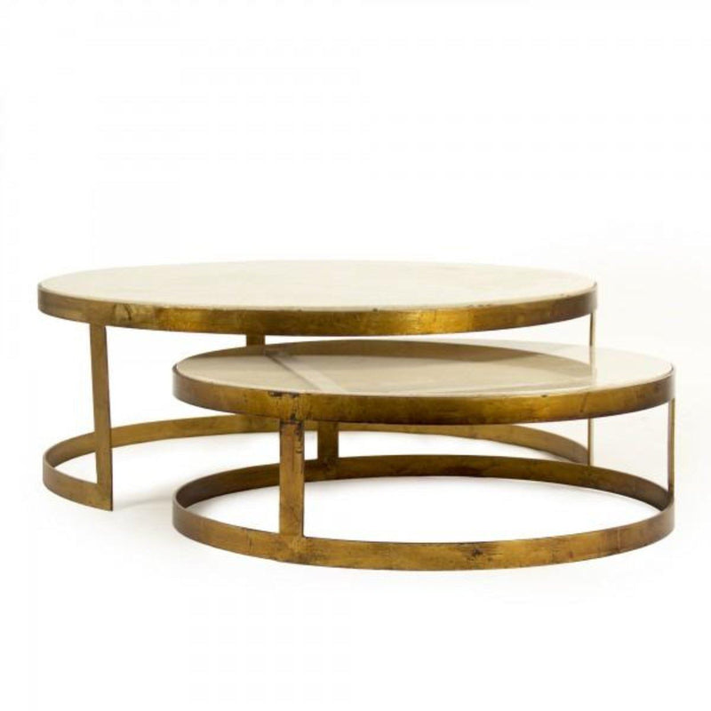 Gilded Iron and Marble Nesting Coffee Tables - Coffee Table - Global Home