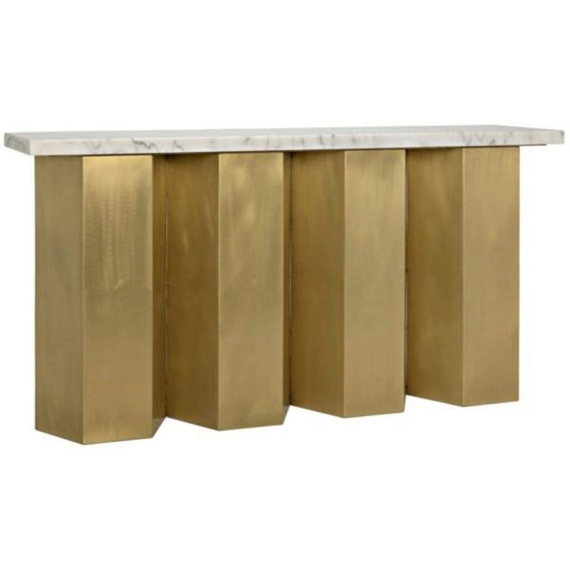 Brass and Marble Brutalist Console Table - Console - Global Home
