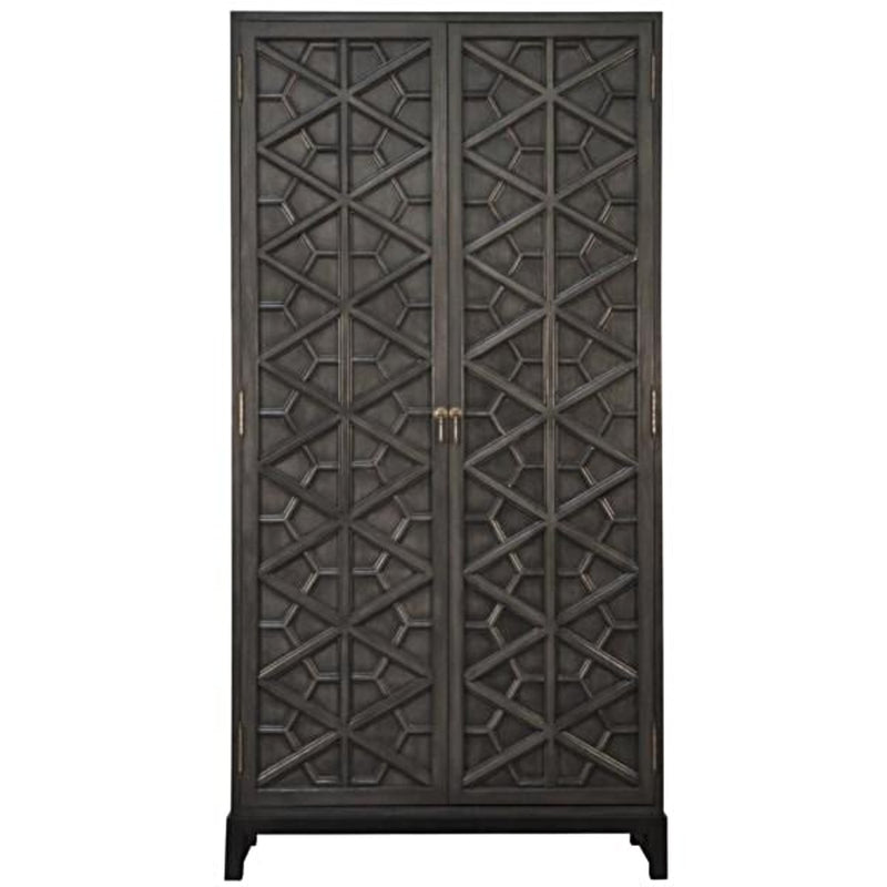 Moroccan Motif Large Mahogany Cabinet - Storage - Global Home