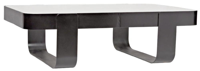 Banded Black Iron and Glass Coffee Table - Coffee Table - Global Home