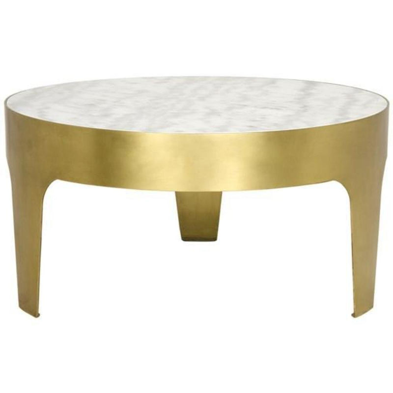 Cylinder Brass and Marble Coffee Table - Coffee Table - Global Home