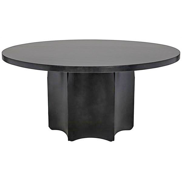 Black Metal Dining Table with Fluted Base - Dining Table - Global Home