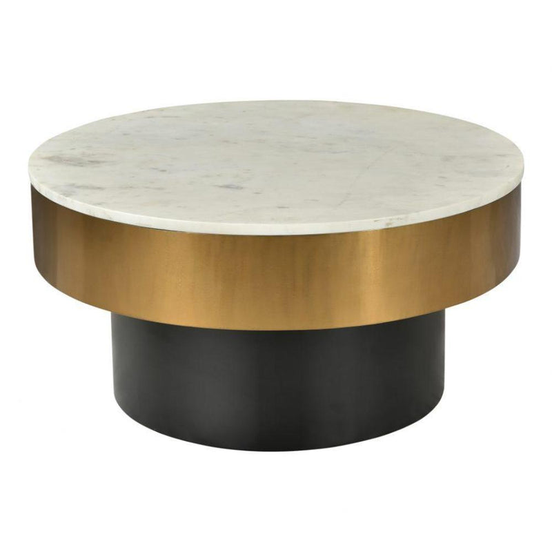 Gold & Marble Round Coffee Table - Coffee Table - Global Home