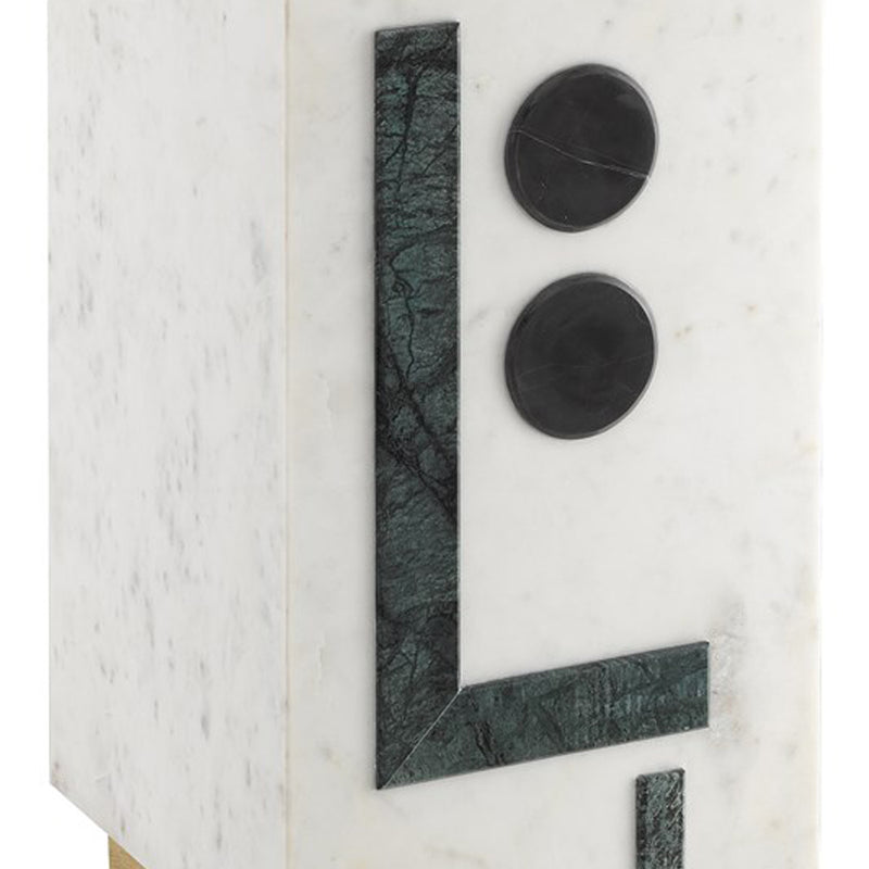 Geometric Marble Accent Table - Side Table - Global Home