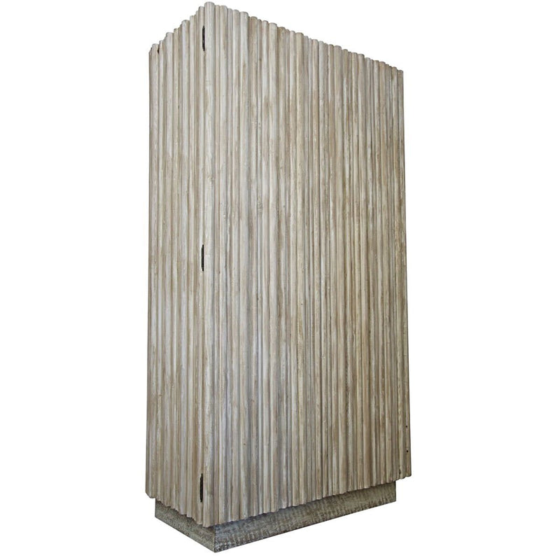 Bleached Douglas Fir Channeled Tall Cabinet - Storage - Global Home