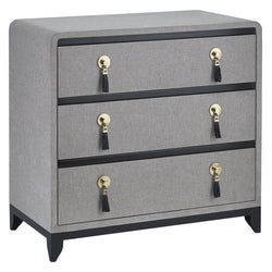 Lacquered Gray Linen Chest - Dresser - Global Home