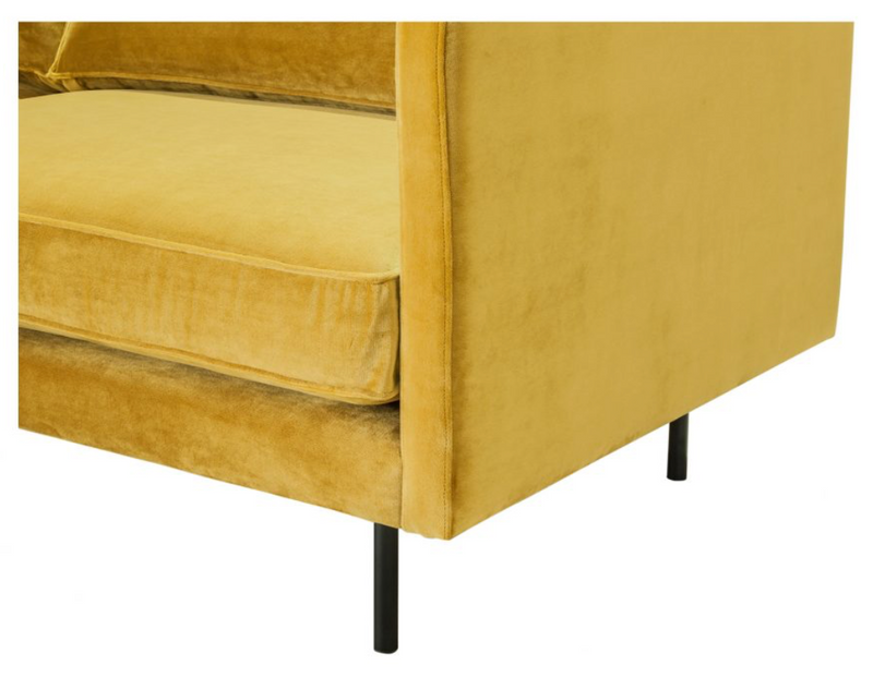 Mid-Century Saffron Velvet Sofa - Sofa - Global Home