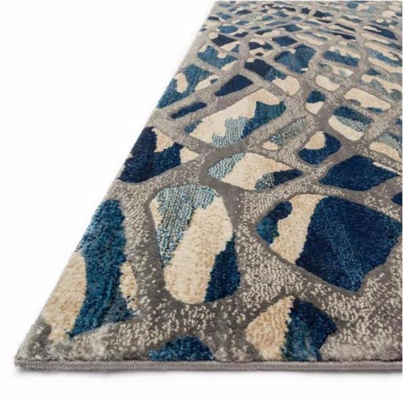 Blue and Silver Wave Rug - Rugs - Global Home