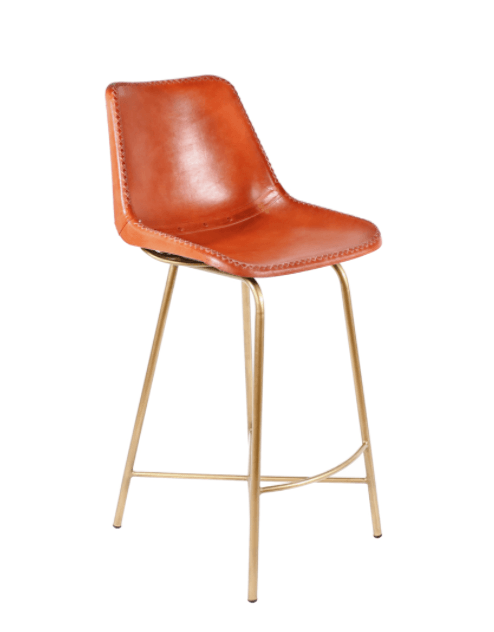 PAIR of Stitched Leather Counter Stools - Seating - Global Home