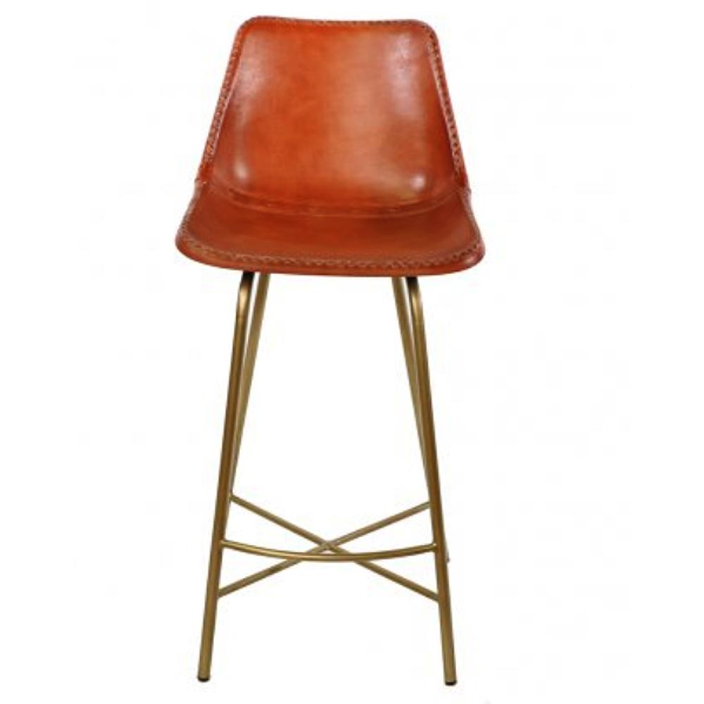 Pair of stitched leather bar stools seating global home