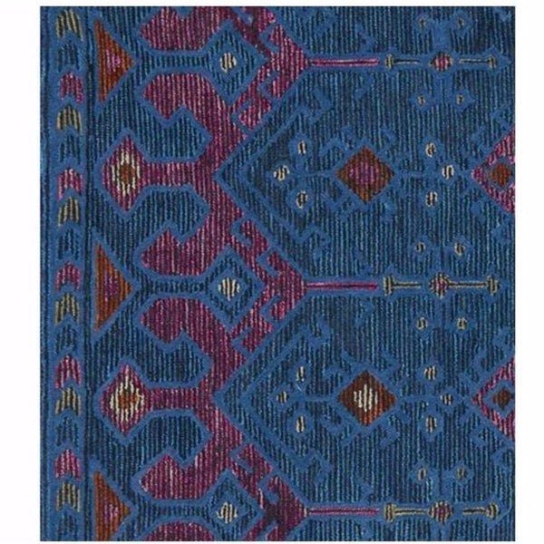 Blue and Pink Bohemian Wool Rug - Rugs - Global Home