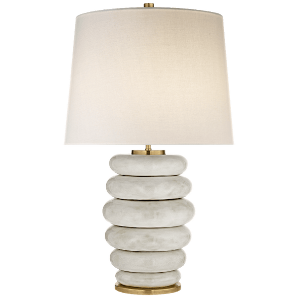 Stacked Ring Table Lamp - Antiqued White - Lighting - Global Home