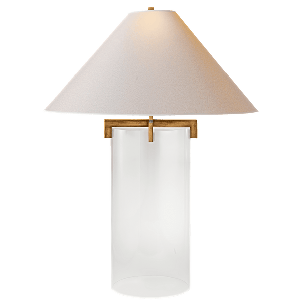 Glass Cylinder Table Lamp with Coolie Shade - 3 Finishes - Lighting - Global Home