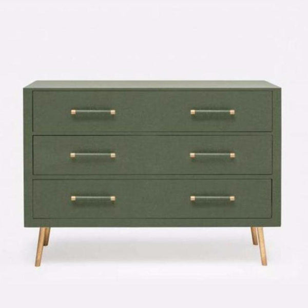 Three Drawer Dresser in Green Faux Linen - Storage - Global Home