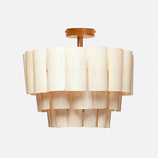 Off-White Banana Bark Flush-Mount Pendant Light - Lighting - Global Home